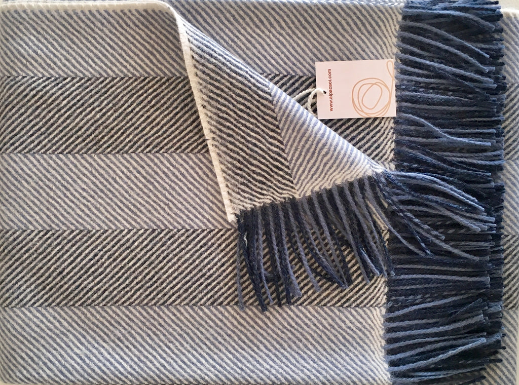Alpaca throw ALPTHS Stripes Blue