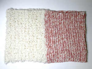 ALPACA ETERNITY SCARF CORAL AND  BEIGE handmade of 100% Peruvian alpaca wool
