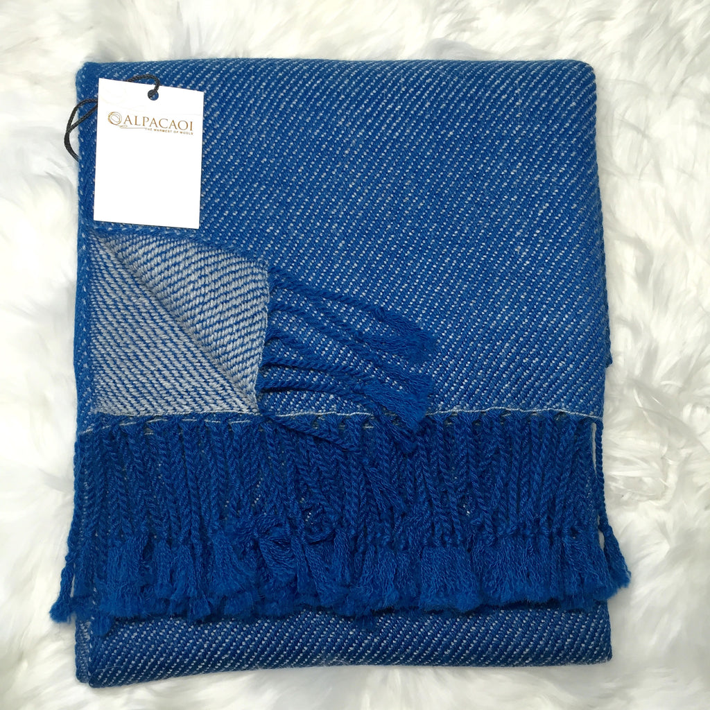 Reversible alpaca shawl colors Blue and  light blue handmade of 100% Peruvian alpaca wool