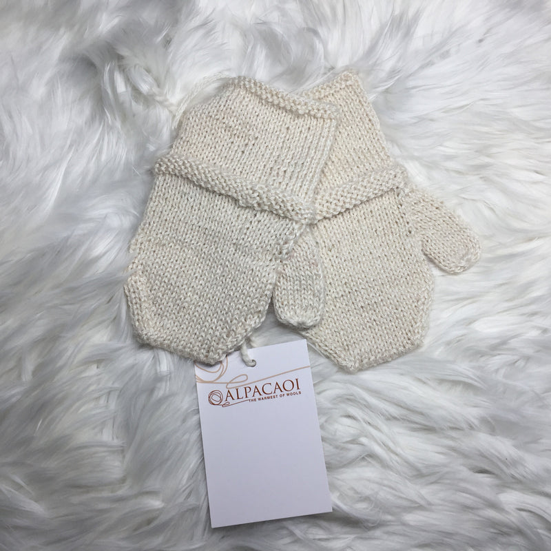 BEIGE ALPACA BABY KNITTED GLOVES handmade of 100% Peruvian alpaca wool
