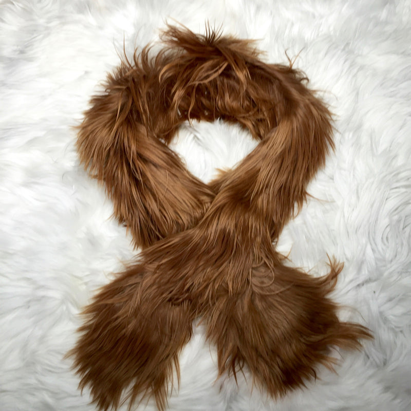 ALPACA FUR SHORT SCARF LIGHT BROWN  made of 100% suri Peruvian alpaca fur
