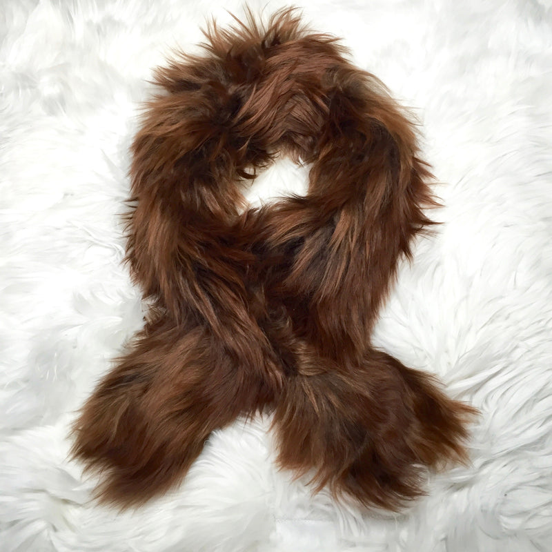 ALPACA FUR SHORT SCARF DARKER BROWN made of 100% suri Peruvian alpaca fur