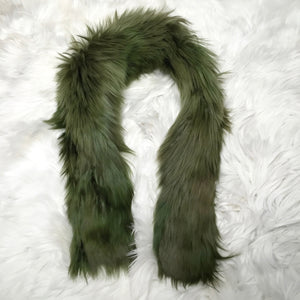 ALPACA FUR SHORT SCARF GREEN made of 100% suri Peruvian alpaca fur