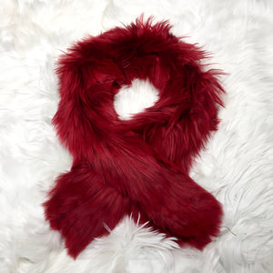 ALPACA FUR SHORT SCARF RED made of 100% suri Peruvian alpaca fur