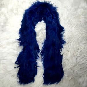 A FUR SHORT SCARF ROYAL BLUE  made of 100% suri Peruvian alpaca fur