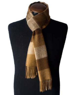 Cream, camel  and beige scarf with squares made of 100% Peruvian baby alpaca wool