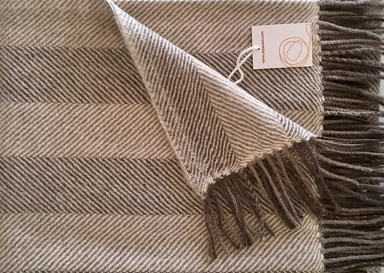 Alpaca throw ALPTHS Stripes Light Brown