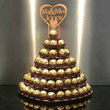 Personalised Ferrero Rocher Heart Wedding Display Stand Centrepiece Tower Mr&Mrs