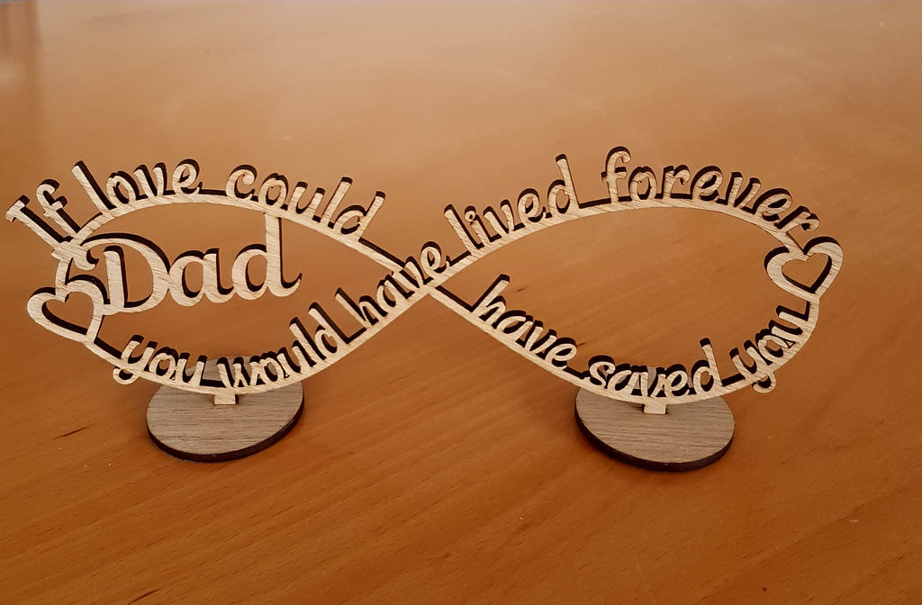 Infinity Stand Personalised Black Acrylic Or Wood