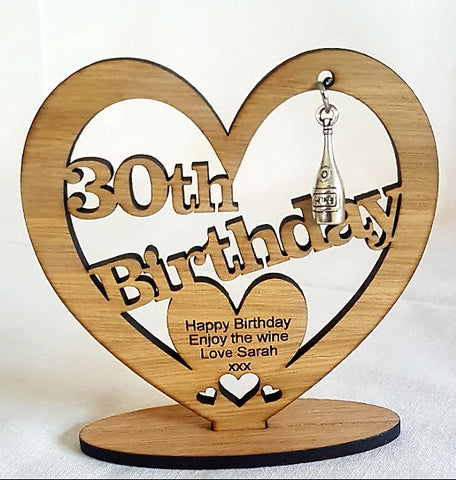 Personalised Wooden Freestanding Heart With Charm For Birthday's