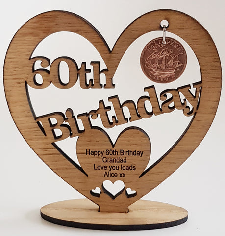 Personalised Wooden Freestanding Heart With Lucky HaPenny/Halfpenny