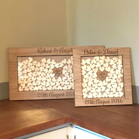 Personalised Wedding Oak Wooden Rustic Drop Box Hearts Guest Book Alternative