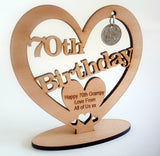 Personalised Wooden Freestanding Heart With Lucky Sixpence
