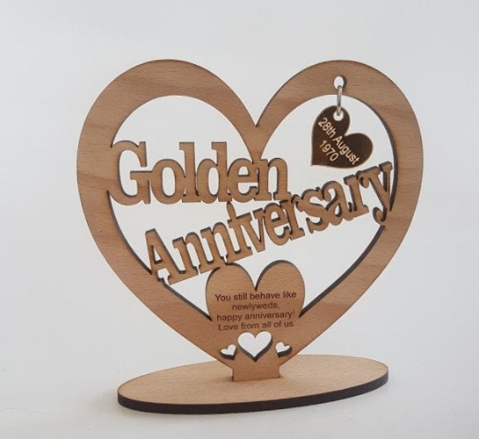 Wedding Anniversary Freestanding Heart 5th/25th/50th