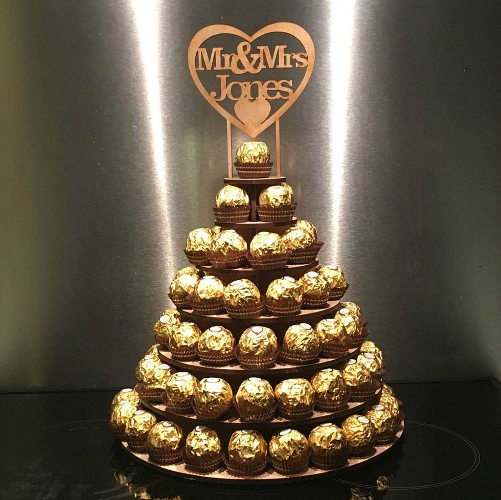 Personalised Ferrero Rocher Round Wedding Display Stand Centrepiece Tower Mr&Mrs