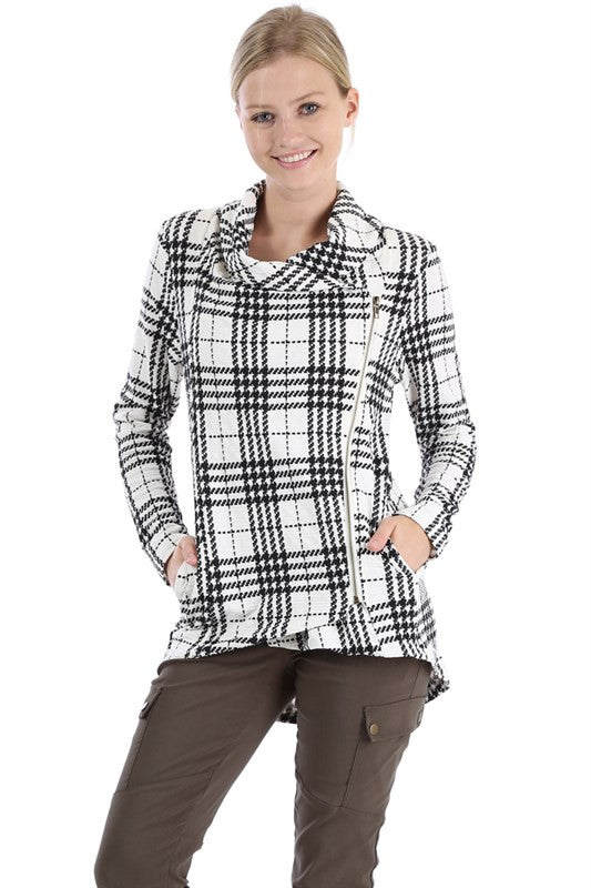 Comfy Zip Up Jacket - White Plaid - Willow Blaire - 2
