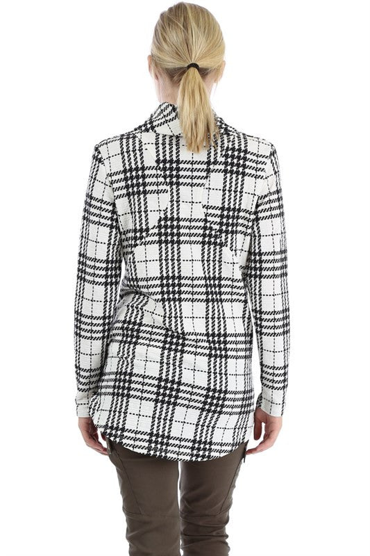 Comfy Zip Up Jacket - White Plaid - Willow Blaire - 3