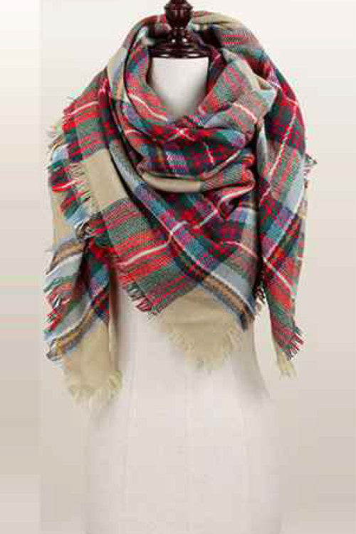 Oversized Blanket Scarf - Plaid - Willow Blaire - 2