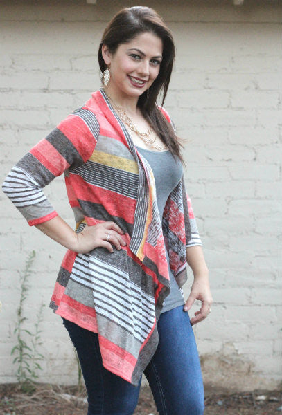 Autumn Stripe Cardigan Coral - Willow Blaire - 2