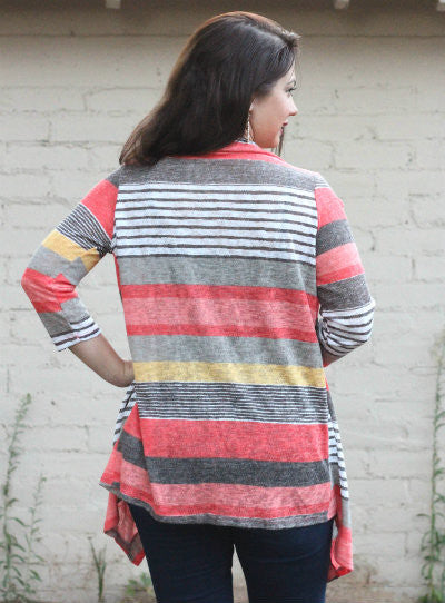 Autumn Stripe Cardigan Coral - Willow Blaire - 3