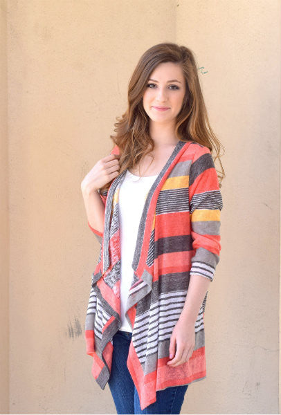 Autumn Stripe Cardigan Coral - Willow Blaire - 1