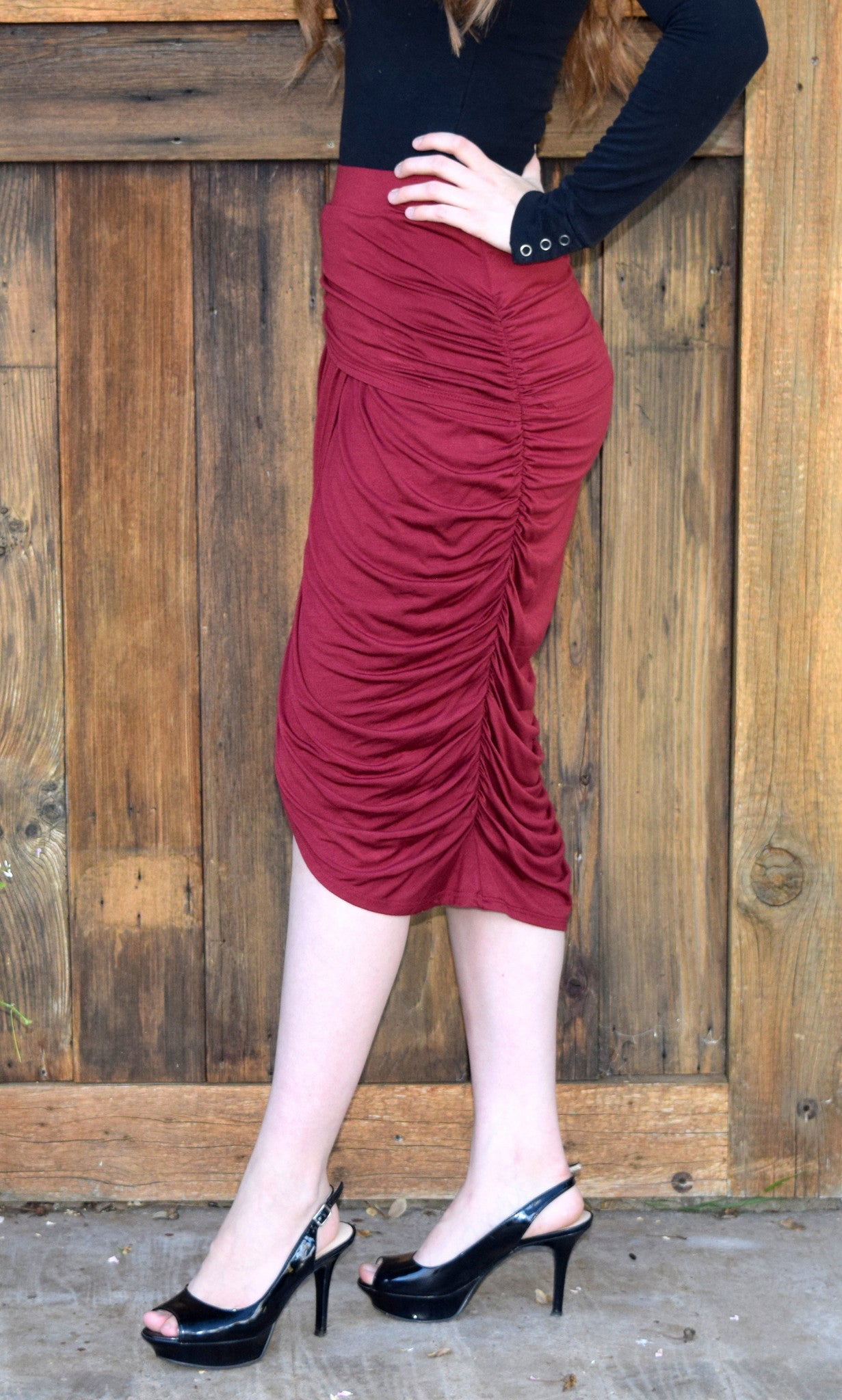 Ruched Midi Skirt - Burgundy FINAL SALE - Willow Blaire - 4