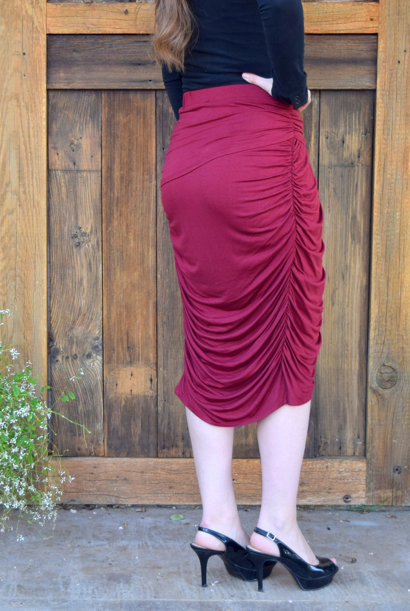 Ruched Midi Skirt - Burgundy FINAL SALE - Willow Blaire - 5