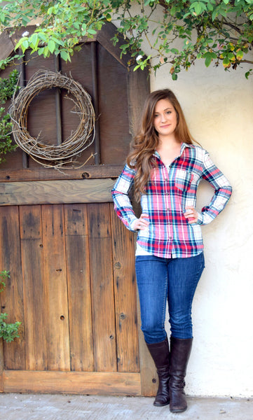 Plaid Long Sleeve Top - Willow Blaire - 3