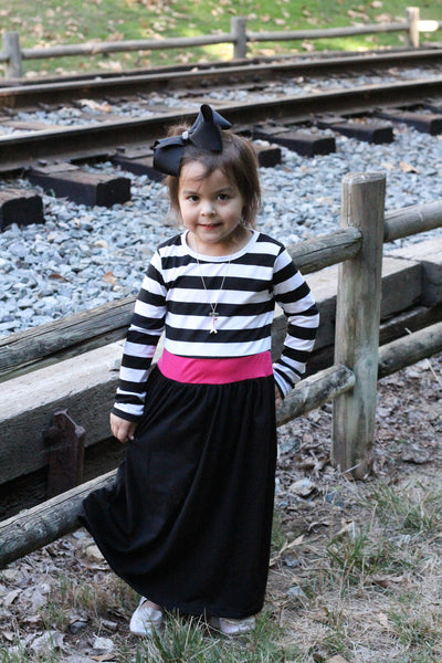 Girls Maxi Dress - Black Stripes - Willow Blaire - 1