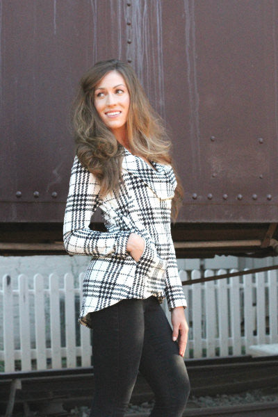 Comfy Zip Up Jacket - White Plaid - Willow Blaire - 1