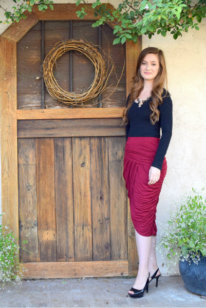 Ruched Midi Skirt - Burgundy FINAL SALE - Willow Blaire - 1