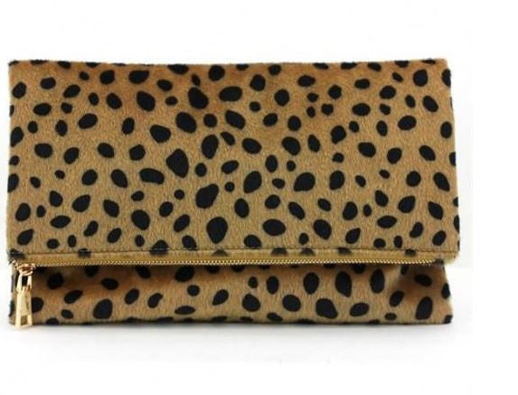 Foldover Leopard Clutch - Willow Blaire