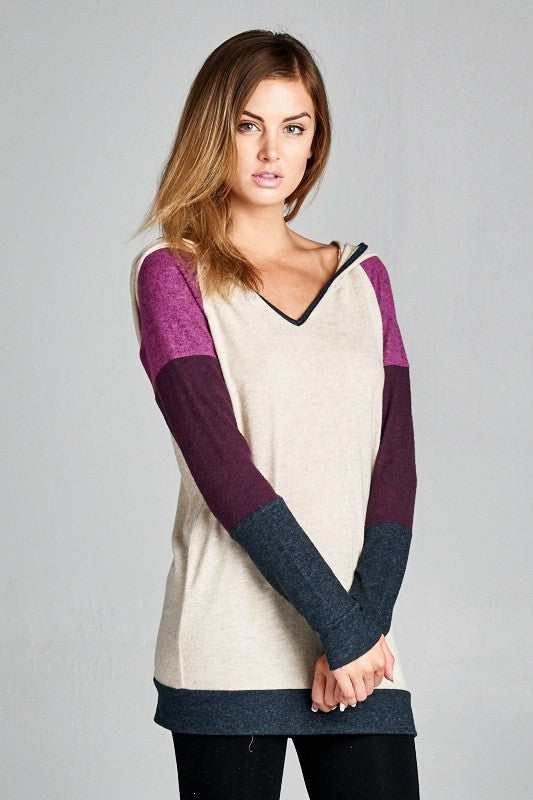 Color Block Plum Tunic Hoodie - Willow Blaire - 3