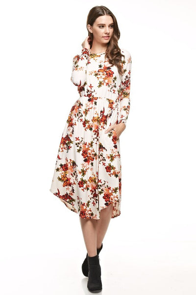 Ava Dress - Ivory Floral