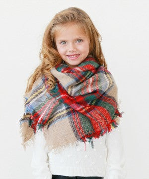 Girls Oversized Blanket Scarf - Plaid - Willow Blaire - 2
