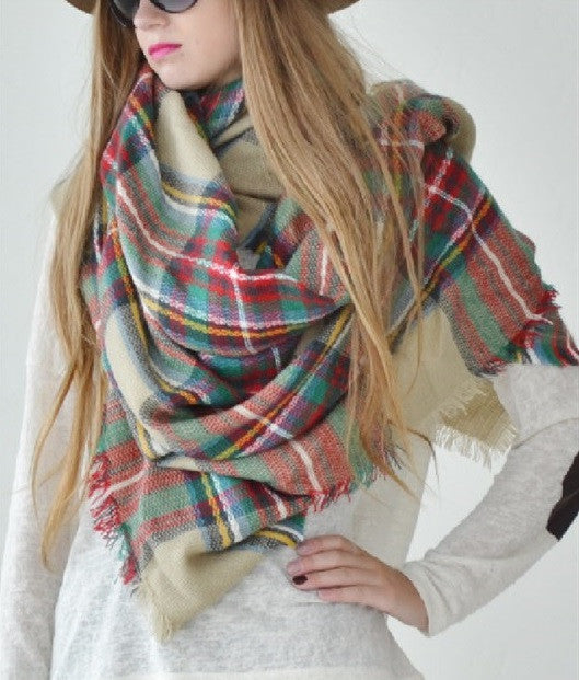 Oversized Blanket Scarf - Plaid - Willow Blaire - 1