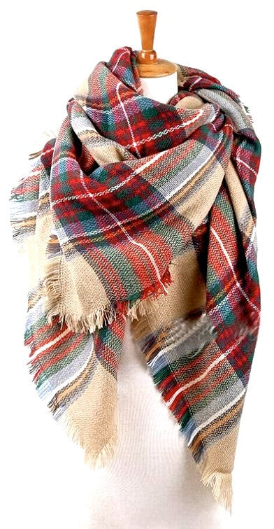 Girls Oversized Blanket Scarf - Plaid - Willow Blaire - 3