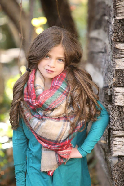 Girls Oversized Blanket Scarf - Plaid - Willow Blaire - 1