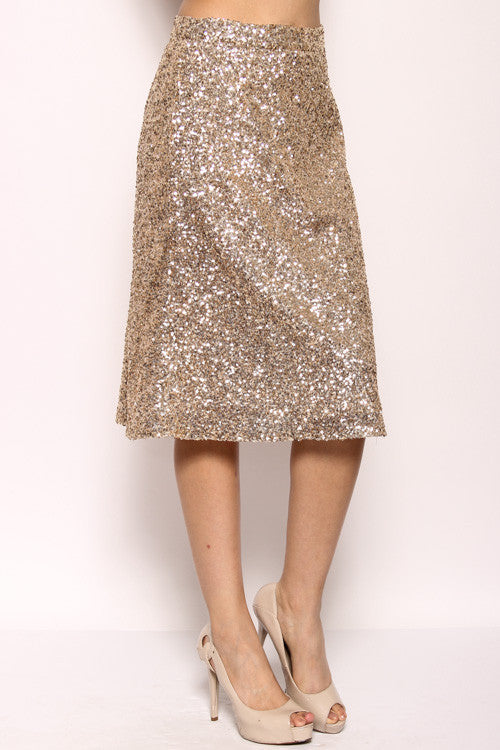 Gold Sequin Midi Skirt - Willow Blaire - 2