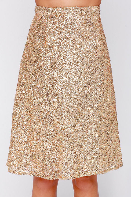 Gold Sequin Midi Skirt - Willow Blaire - 1
