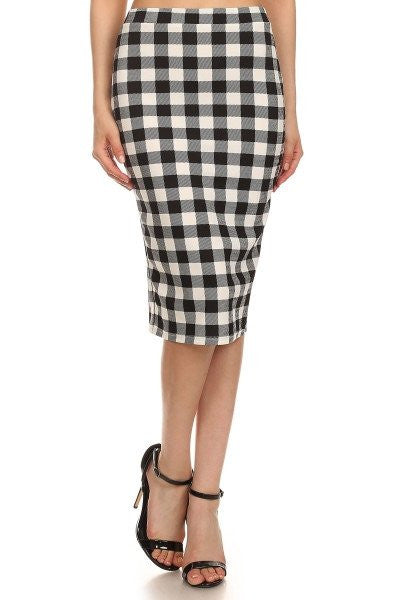 Checkered Pencil Skirt - White
