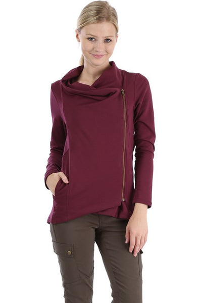 Comfy Zip Up Jacket - Burgundy - Willow Blaire - 2