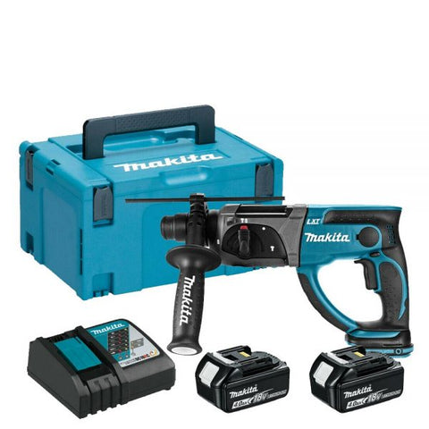 Makita DHR202RMJ Cordless 18V LXT 20mm SDS+ Rotary Hammer Drill with 2x 4Ah Batteries, Charger and MAKPAC Type 3 Carry Case