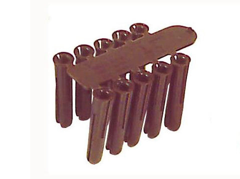 Brown plastic fixing plug x 100