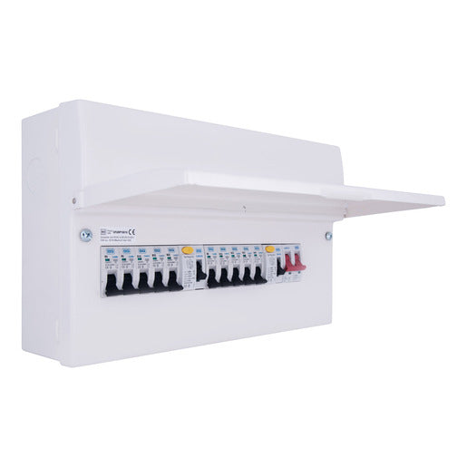BG 10-Way RCD Metal Consumer Unit 100A Dual RCD fully populated with MCBs