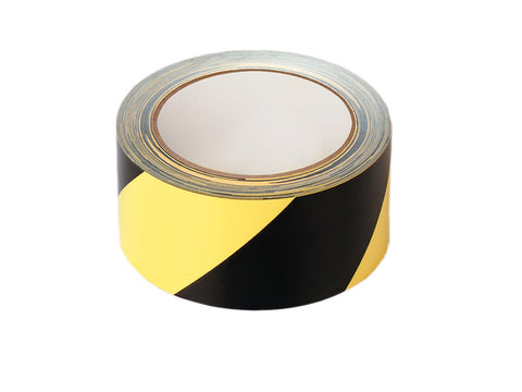Black/yellow adhesive hazard tape