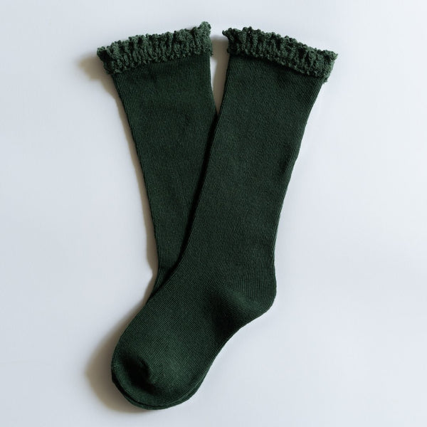Lace Knee High Socks Forest Green