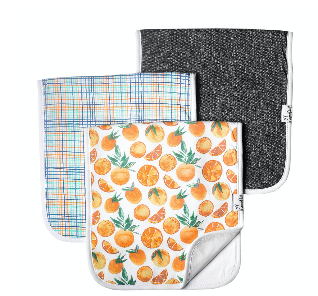Premium Burp Cloths (3 pack)- Citrus - Baby Sweet Pea's Boutique