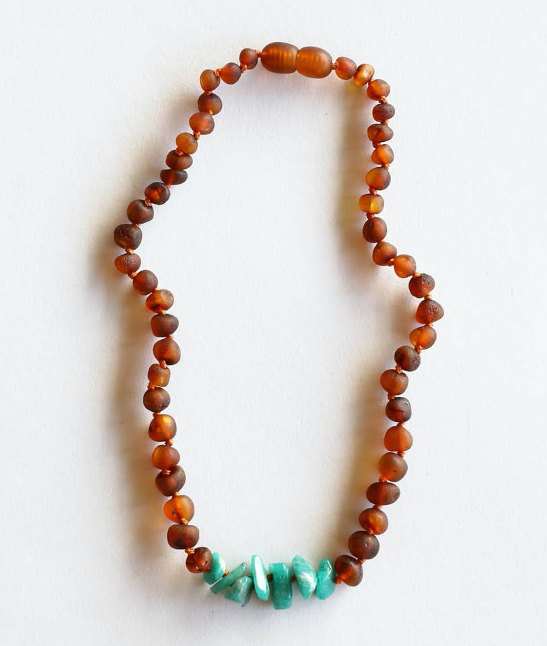"Raw Cognac Amber + Raw Green Amazonite 11"" Necklace"