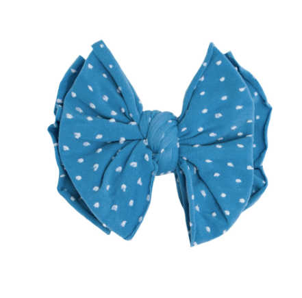 Shab-Bow-Lous Denim w/ White Dots Bow Clip